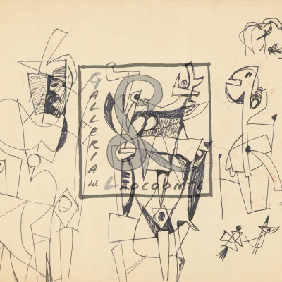 Afro Basaldella - Studio di tre Figure, 1947 Inchiostro, Cm 30,8x36,6