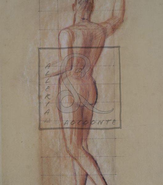 Achille Funi - Nudo di schiena Sanguigna e gessetto su carta Cm 56x37