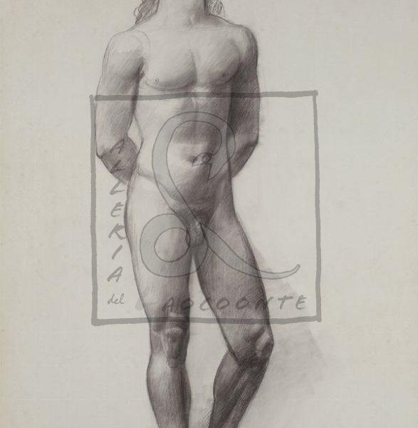 Achille Funi - Nudo Maschile, 1931 Matita su carta riportata su tela Cm 69x49