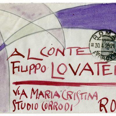 88b_Giacomo Balla_Lettera al conte Filippo Lovatelli_1926_matita e tempera su carta_busta 9.7x14-lettera 19.4x28
