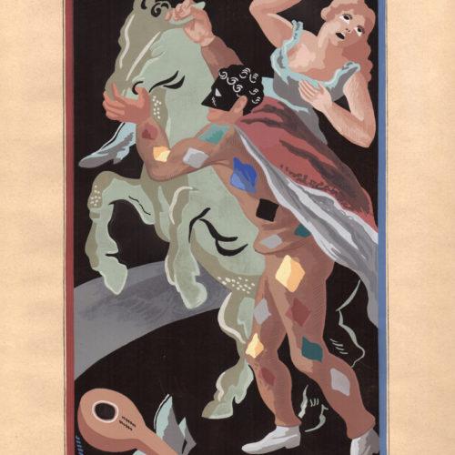 GINO SEVERINI (Cortona 1883 - Paris 1966) Les prouesses d'Arlequin Pouchoir on paper, 46 x 32,3 cm