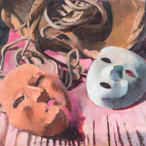 MARISA MORI (Florence 1900 - 1985) Study for two masks, 1931 Oil on wood, 58 x 44 cm