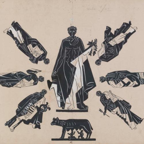 GINO SEVERINI (Cortona 1883 - Paris 1966) Italy between the symbols of the Empire and the Art, 1937 Pencil and tempera on cardboard, 49 x 123,5 cm