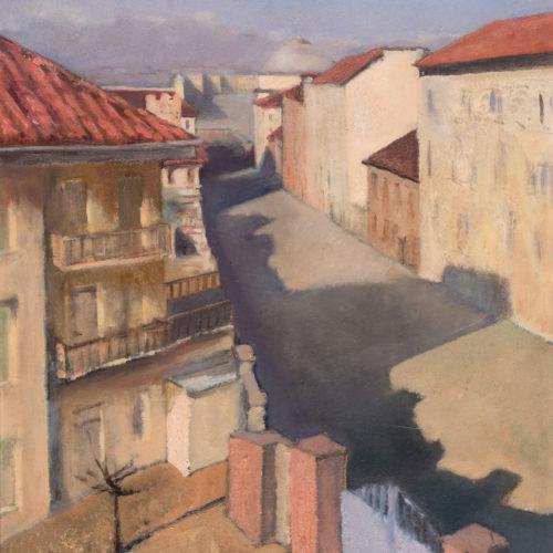 MARISA MORI (Florence 1900 - 1985) Via Lanfranchi, 1926 Oil on wood, 46 x 50 cm